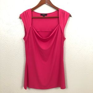Express| Hot Pink Blouse Waterfall Neckline